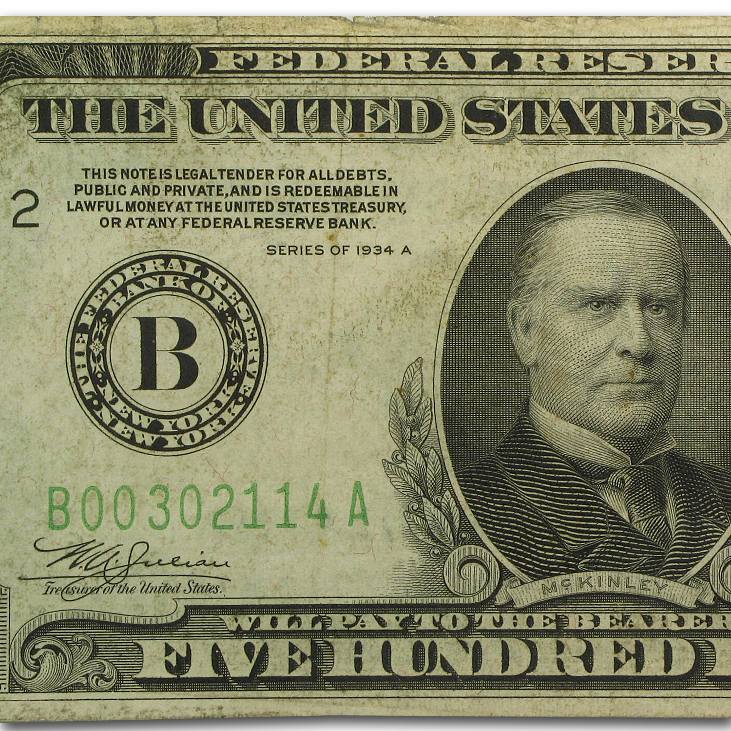 1934-A (B-New York) $500 FRN (Very Fine + )