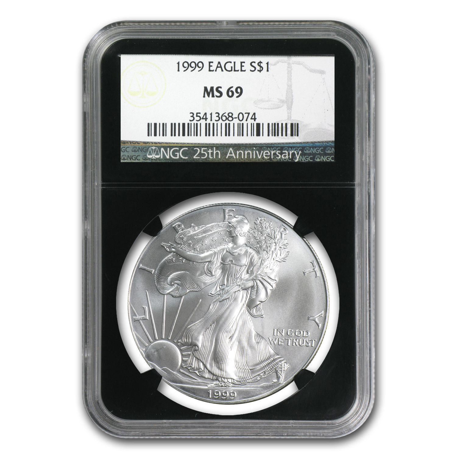 1999 Silver American Eagle MS-69 NGC (Retro Black Insert)