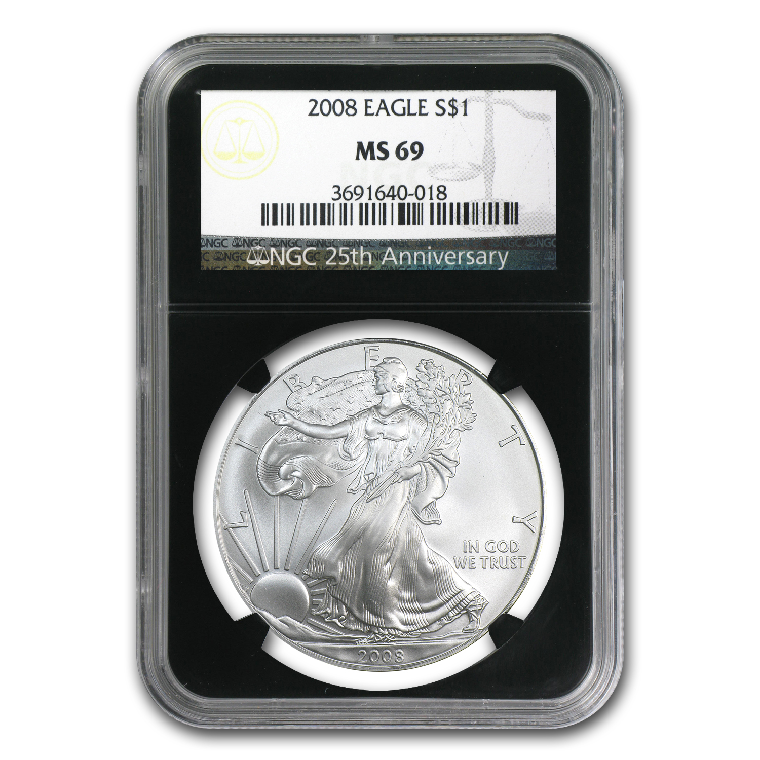 2008 Silver American Eagle MS-69 NGC (Retro Black Insert)