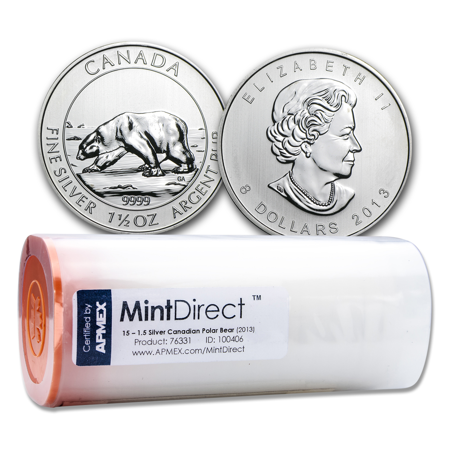 2013 1.5 oz Canadian $8 Polar Bear (15-Coin MintDirect® Tube)