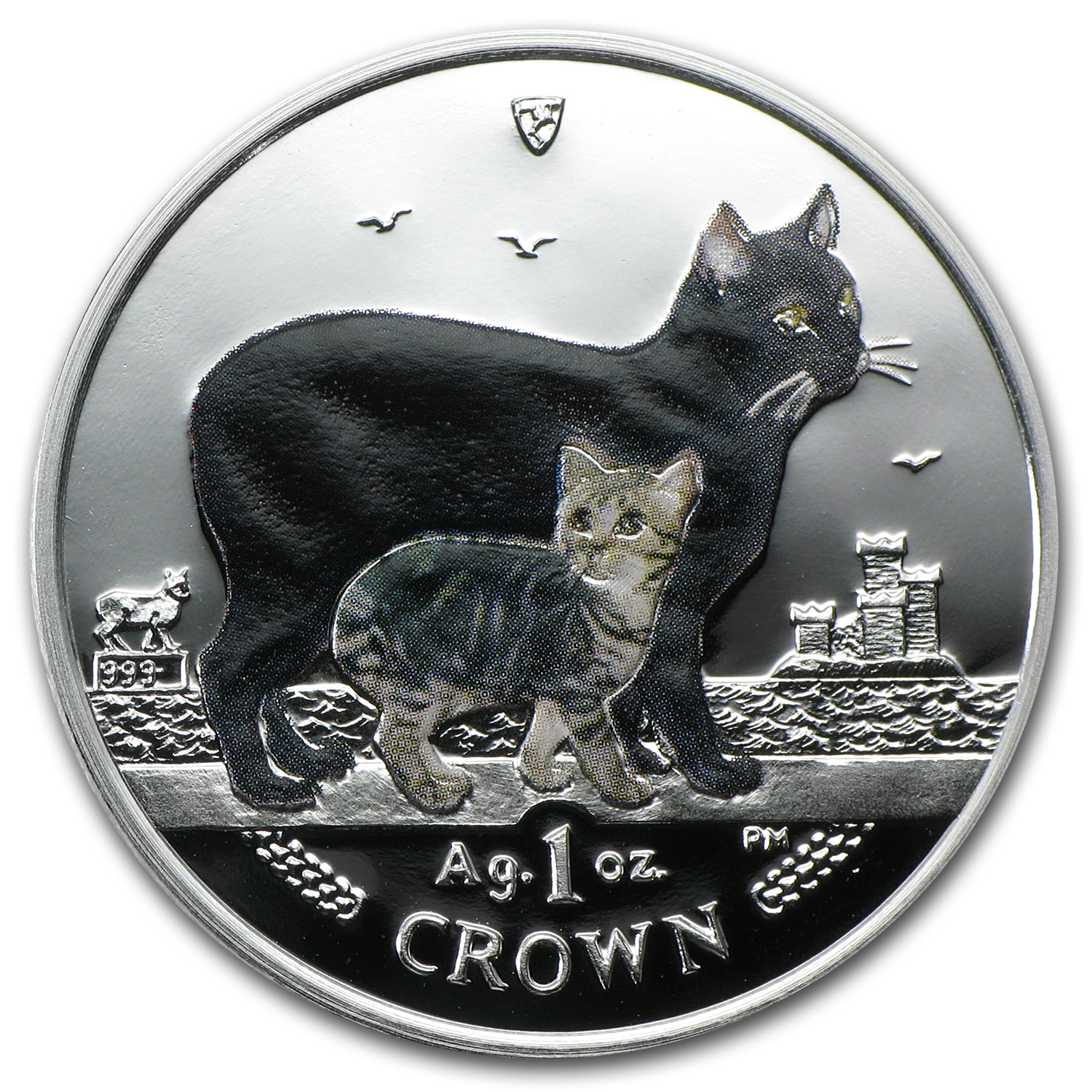 2012 Isle of Man Silver 1 Crown Manx Cat Proof (Colorized)