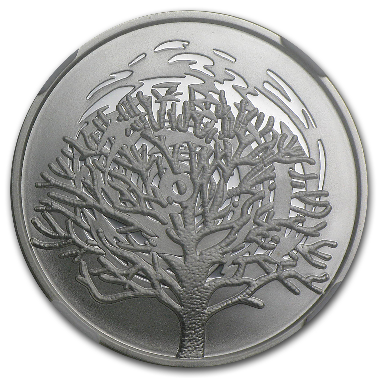 2004 Israel The Burning Bush Silver 1 NIS MS-68 NGC