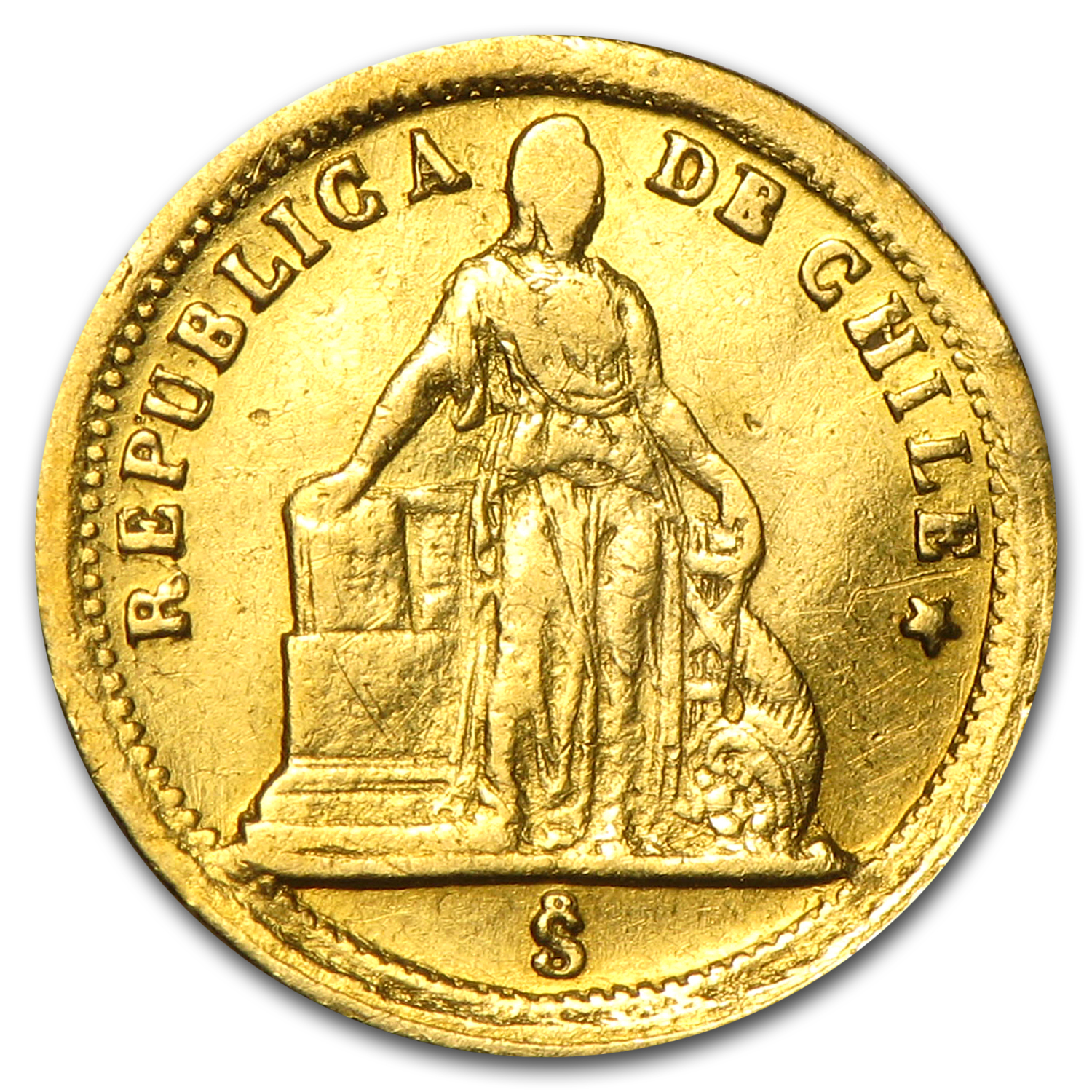 1861 Chile Gold 1 Peso VF Details