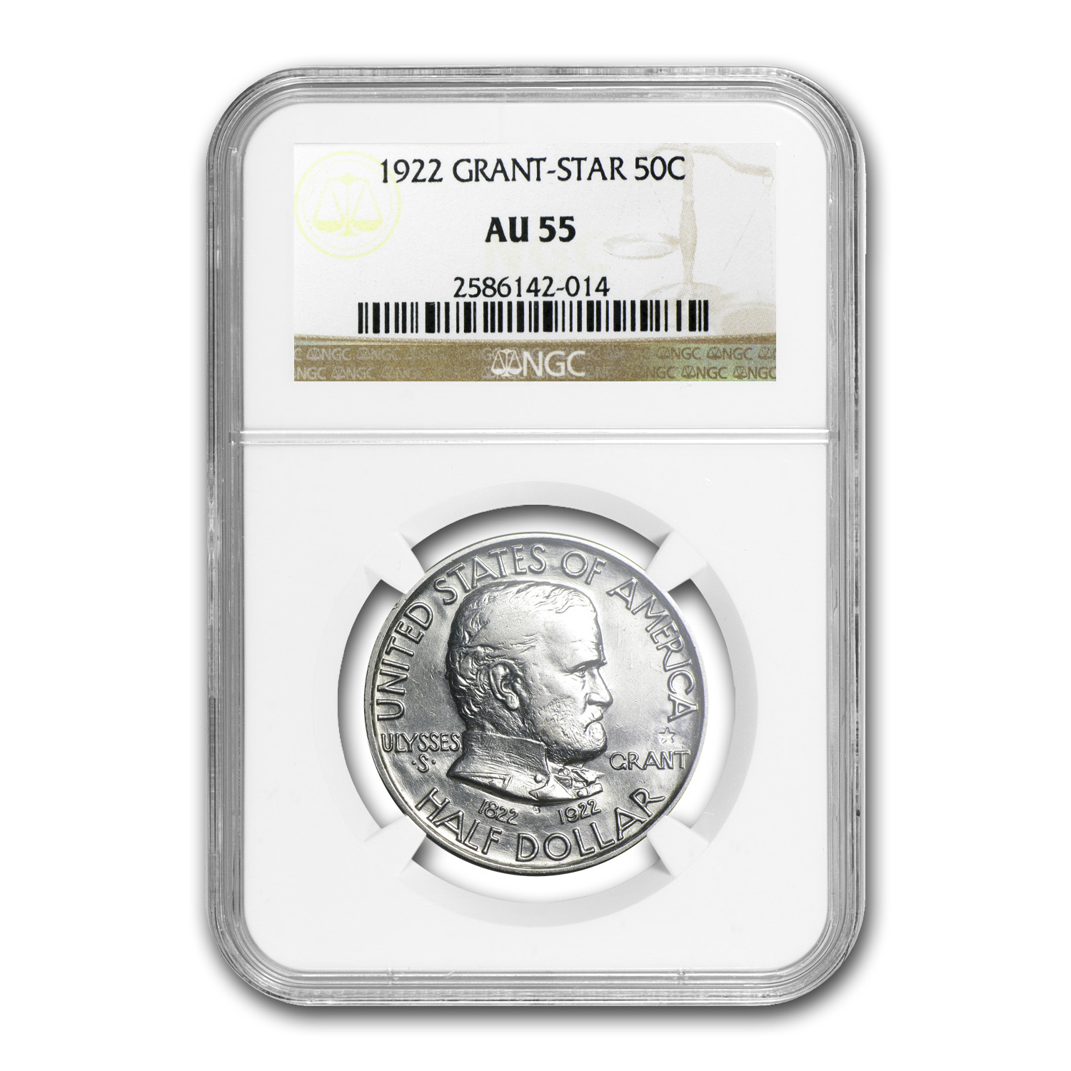 1922 Grant Memorial Commemorative w/ STAR - AU-55 NGC
