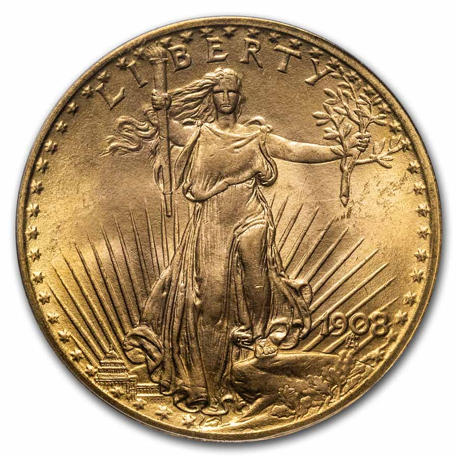 1908 $20 Saint-Gaudens Gold No Motto MS-67 PCGS