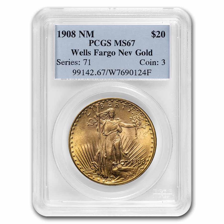 1908 $20 St. Gaudens Gold - No Motto - MS-67 PCGS