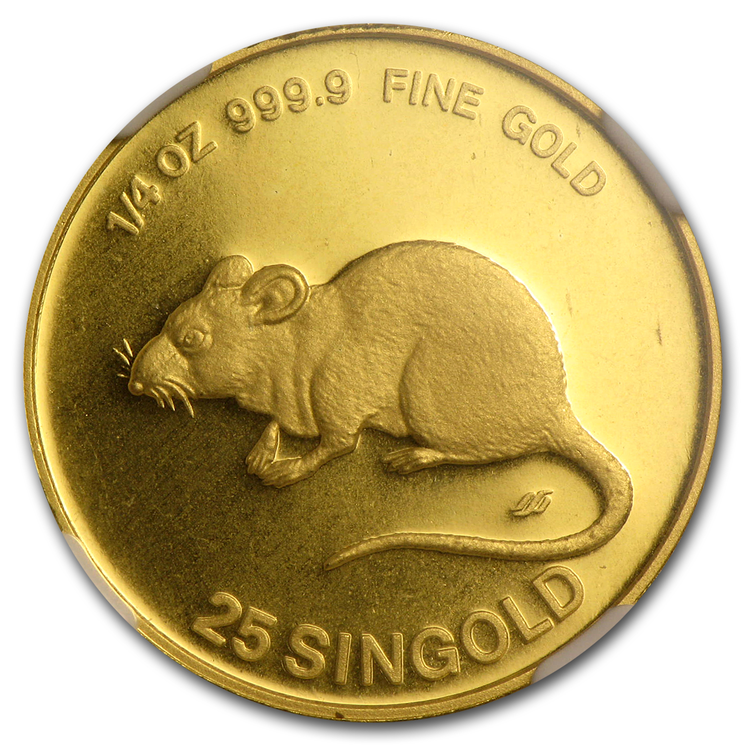 Singapore 1984 - Rat (25 Singold) Gold Coin NGC MS-67