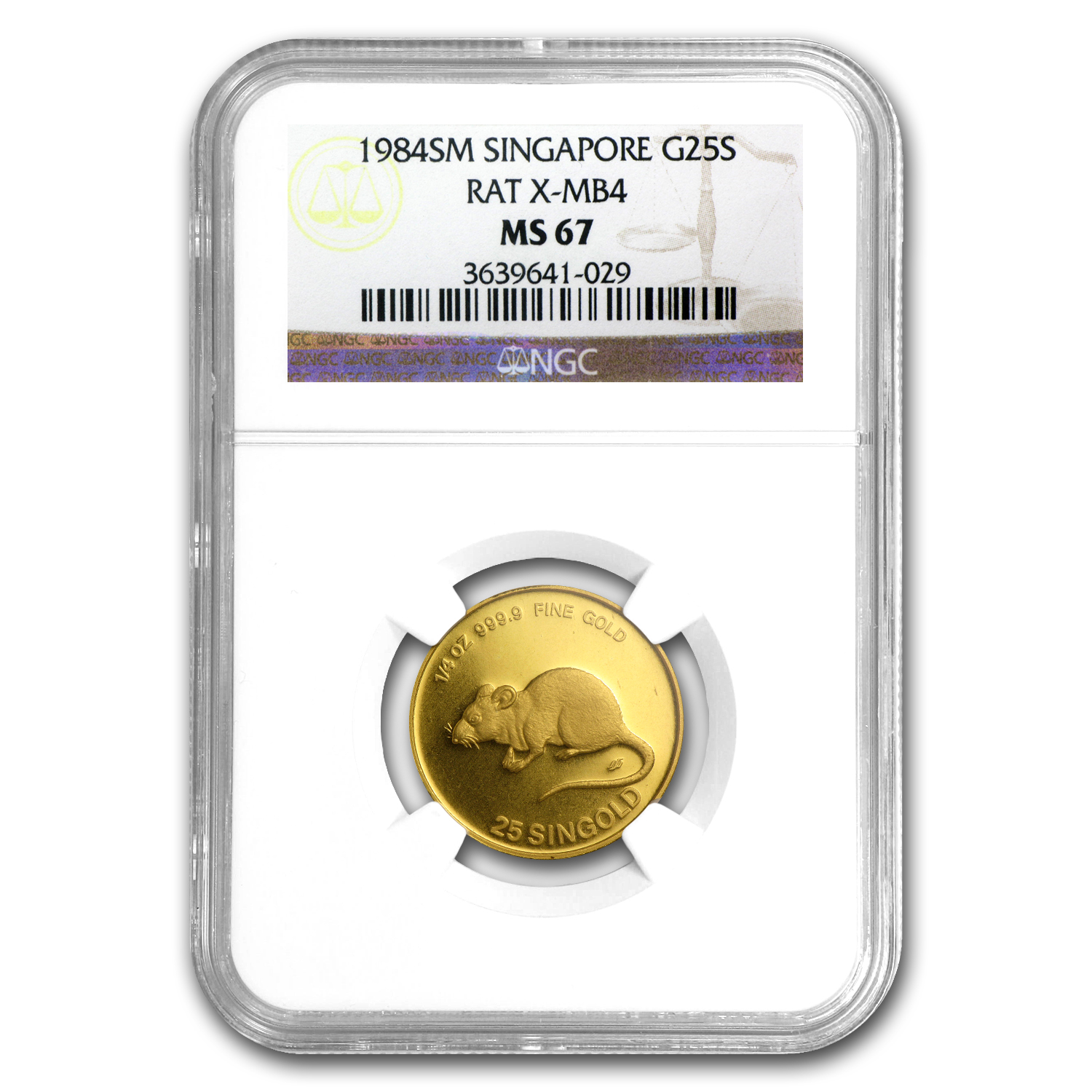 1984 Singapore 1/4 oz Gold 25 Singold Rat MS-67 NGC