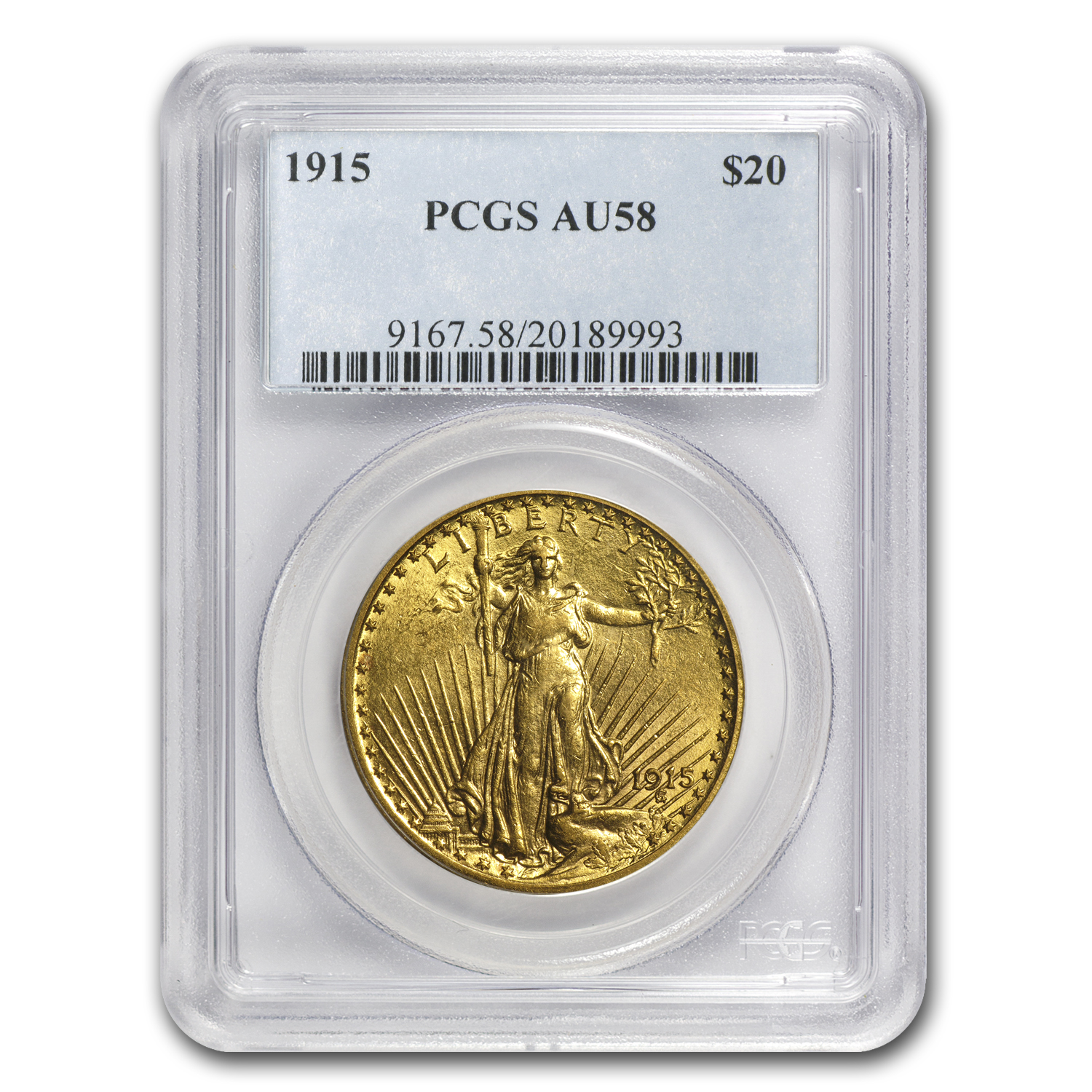 1915 $20 St. Gaudens Gold Double Eagle AU-58 PCGS