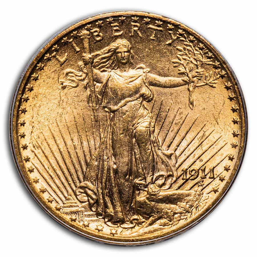 1911-D $20 St. Gaudens Gold Double Eagle MS-62 PCGS