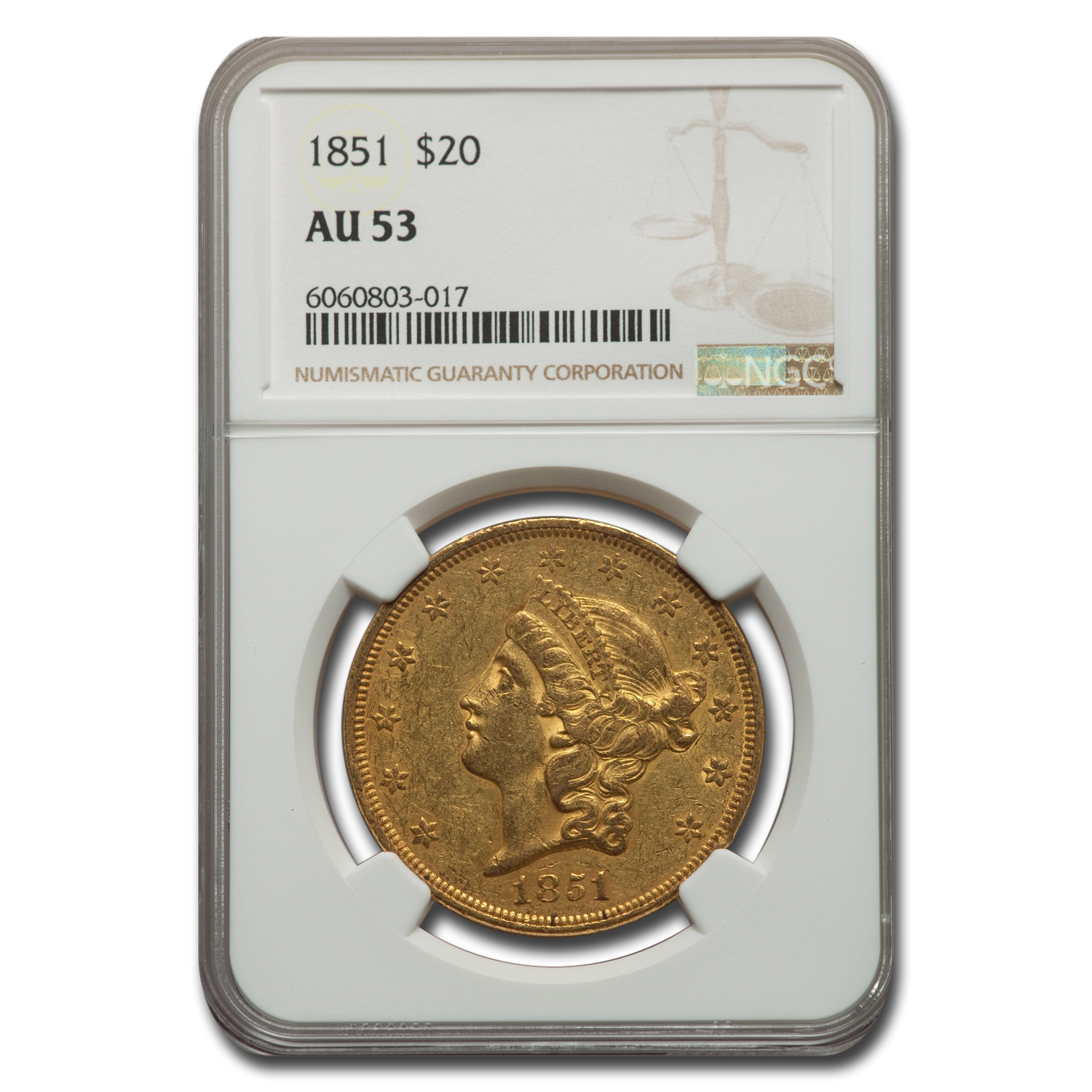 1851 $20 Gold Liberty Double Eagle - AU-53 NGC