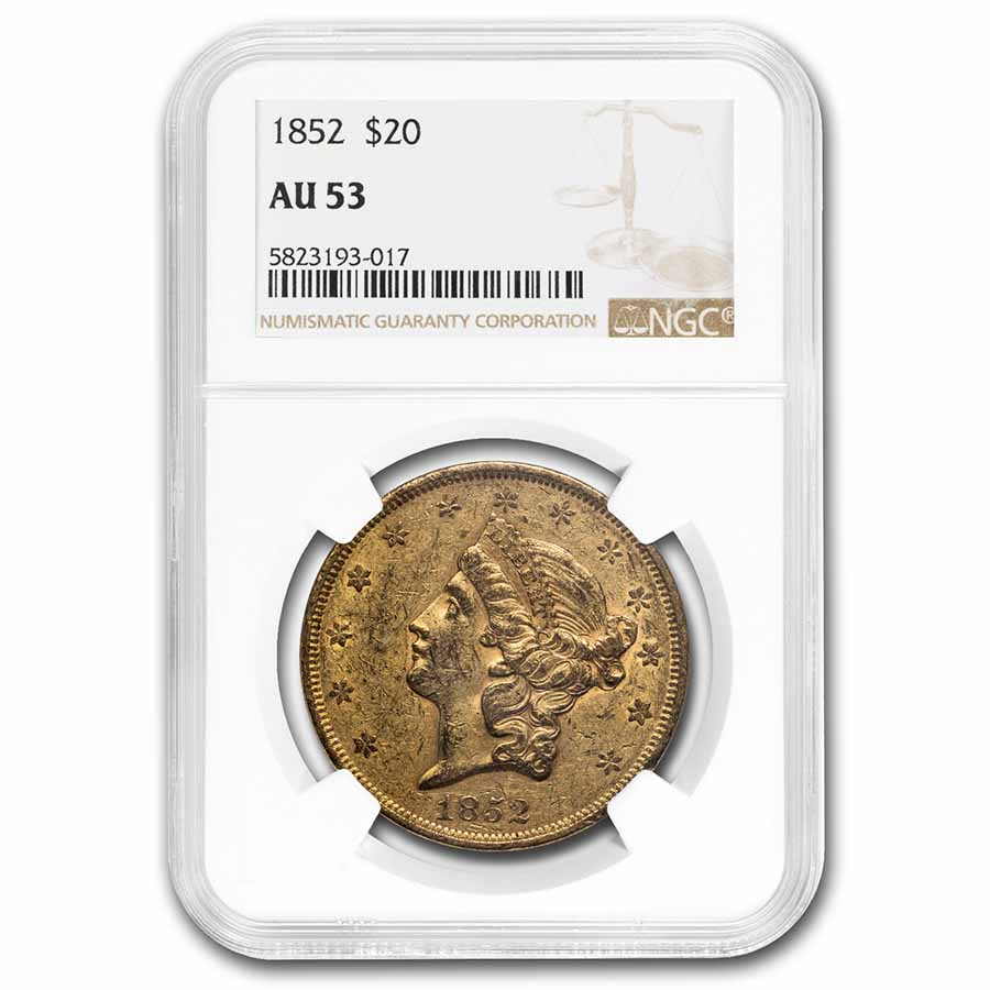 1852 $20 Liberty Gold Double Eagle AU-53 NGC