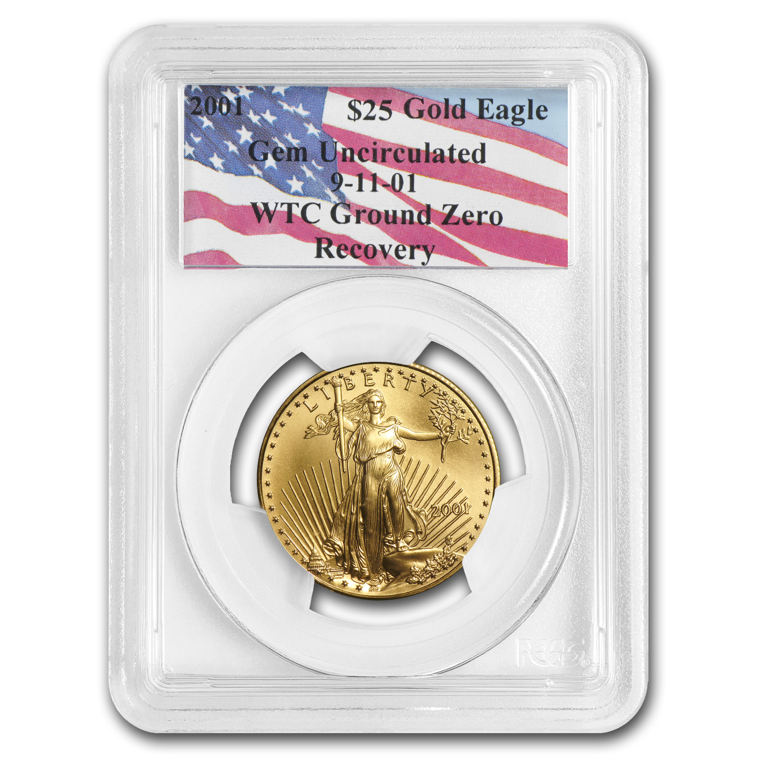 2001 1/2 oz Gold American Eagle Gem Unc PCGS (World Trade Center)