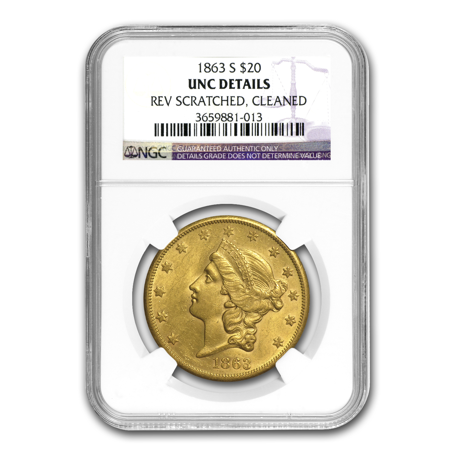 1863-S $20 Liberty Gold Dble Eagle BU Detail NGC (Scratch, Clnd)