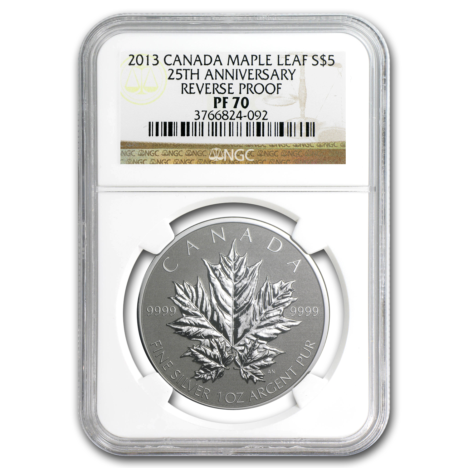 2013 1 oz Silver Canadian Maple Leaf PF-70 NGC (25th Anniv)