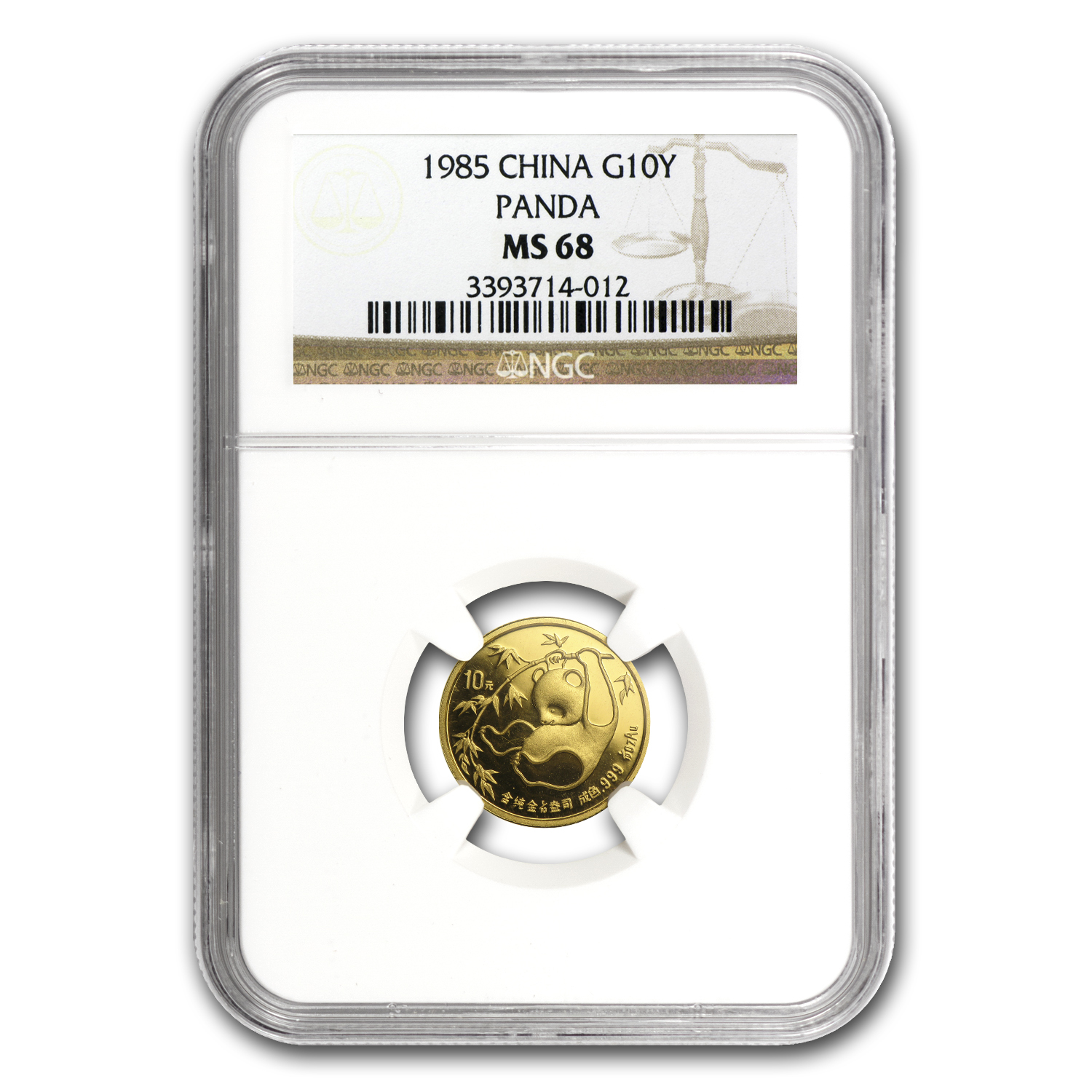 1985 China 1/10 oz Gold Panda MS-68 NGC