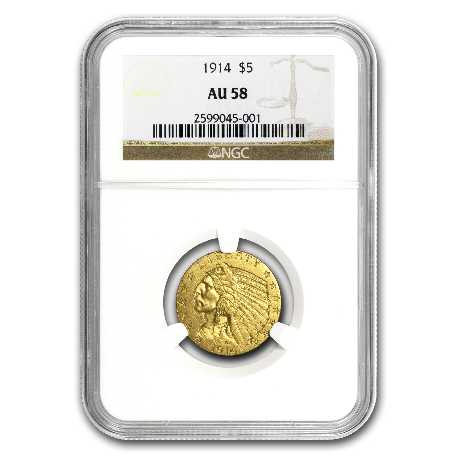 1914 $5 Indian Gold Half Eagle AU-58 NGC