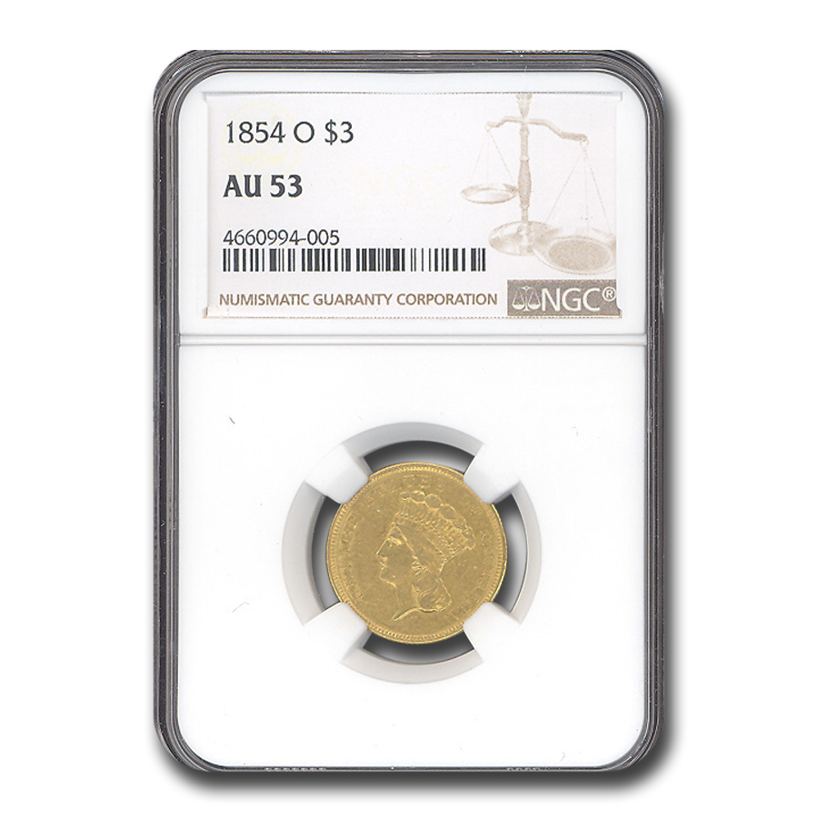 1854-O $3 Gold Princess AU-53 NGC