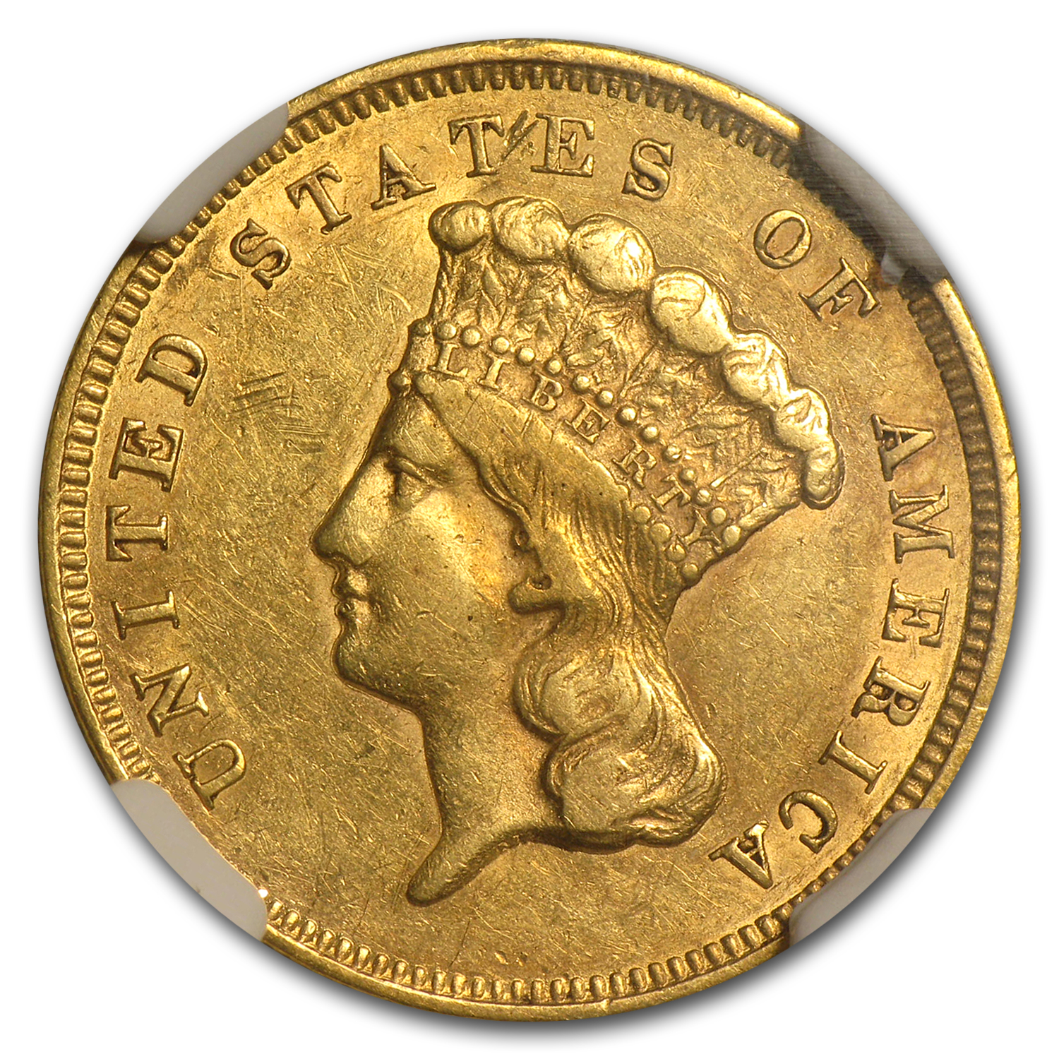 1857-S $3 Gold Princess AU-53 NGC