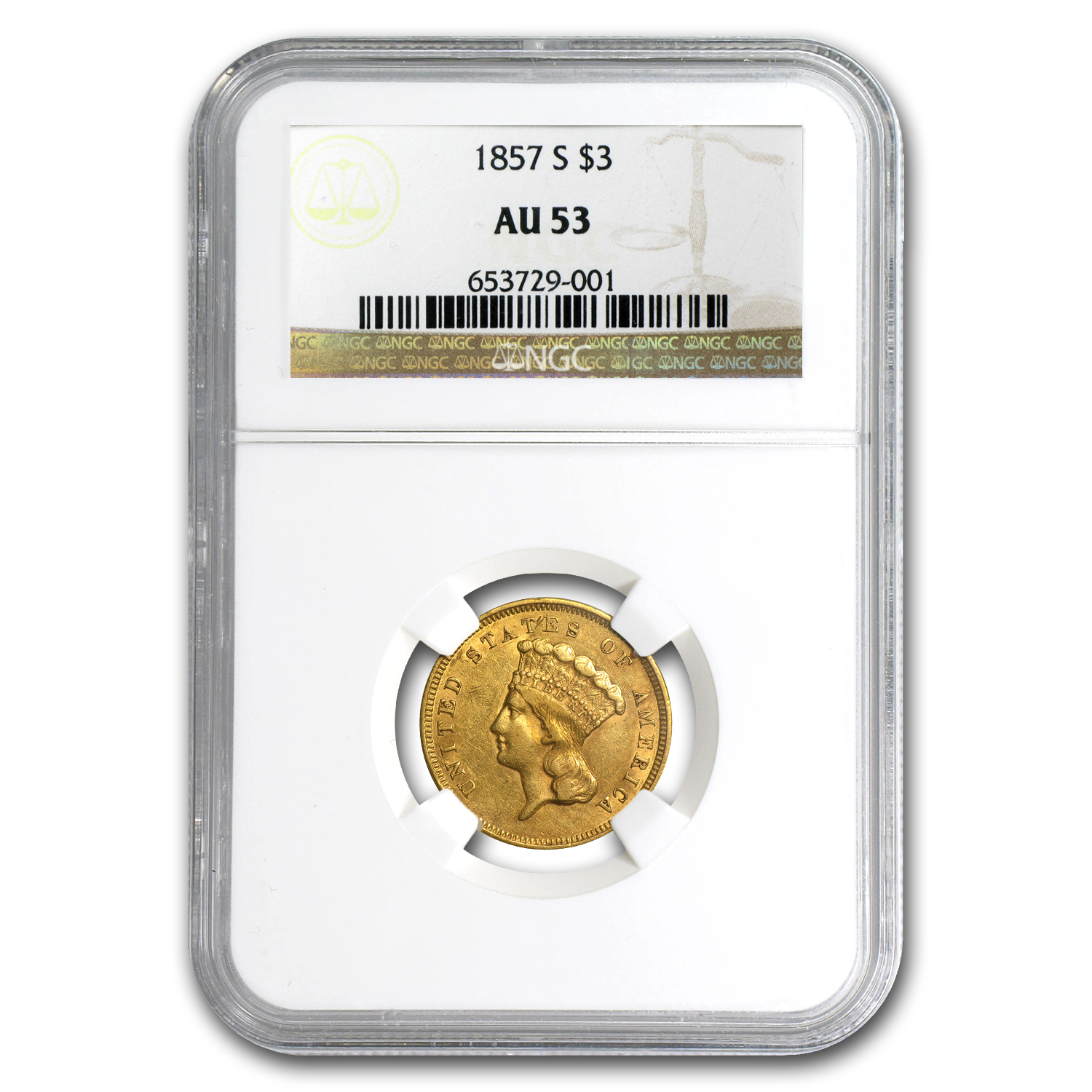 1857-S $3 Gold Princess - AU-53 NGC