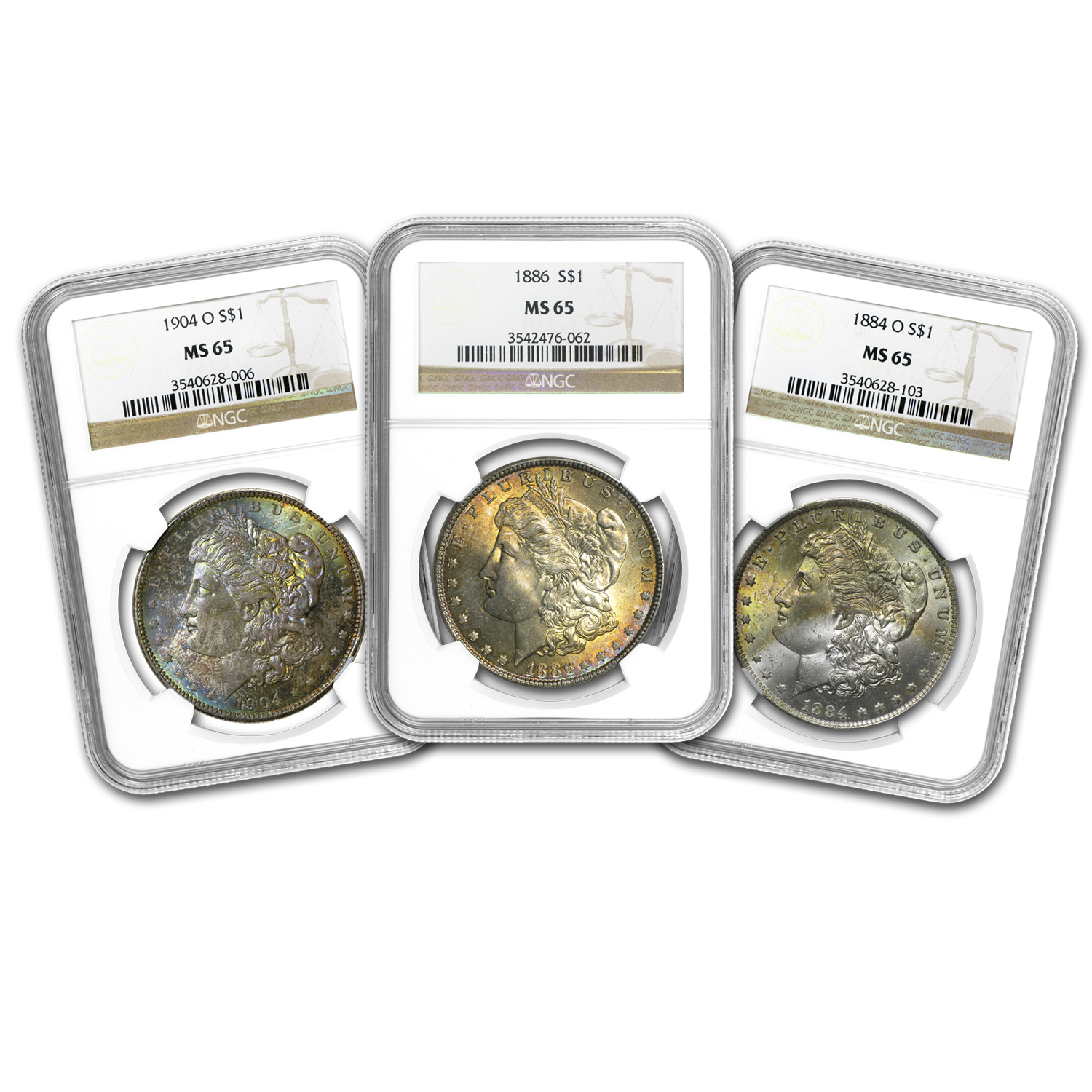 1878-1904 Morgan Dollars MS-65 NGC (Beautifully Toned)