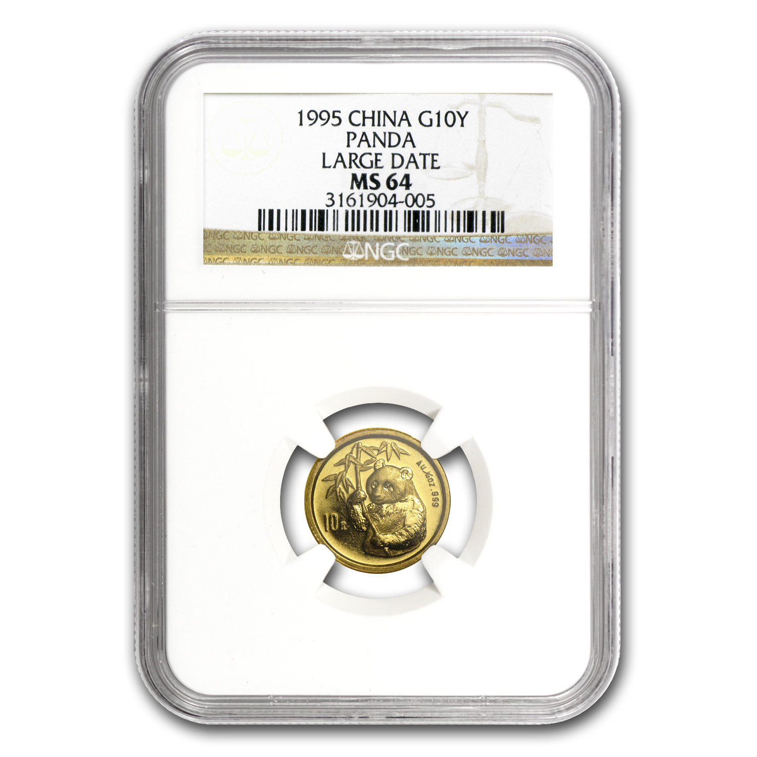 1995 China 1/10 oz Gold Panda Large Date MS-64 NGC