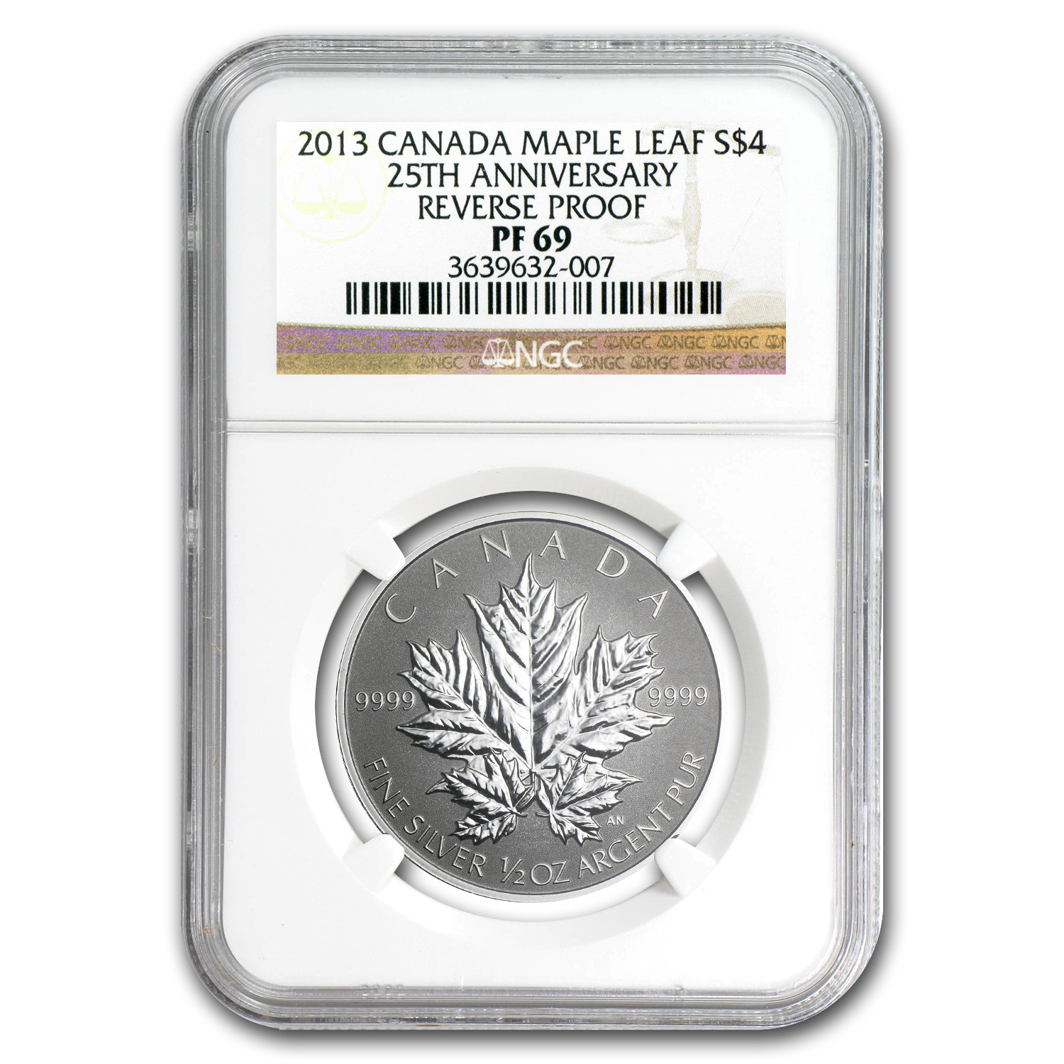 2013 Canada 1/2 oz Silver $4 Maple Leaf 25th Anniv PF-69 NGC