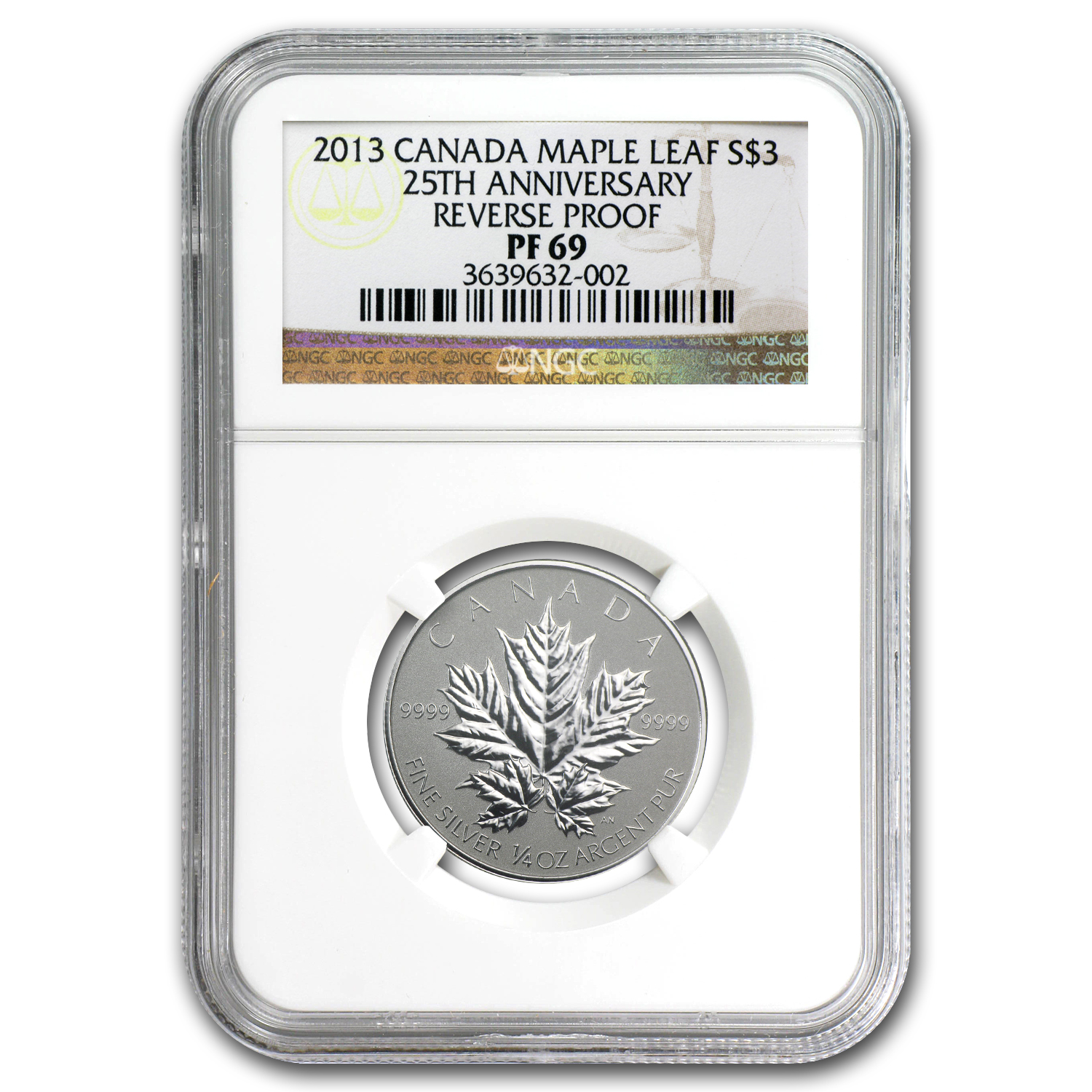 2013 Canada 1/4 oz Silver $3 Maple Leaf 25th Anniv PF-69 NGC