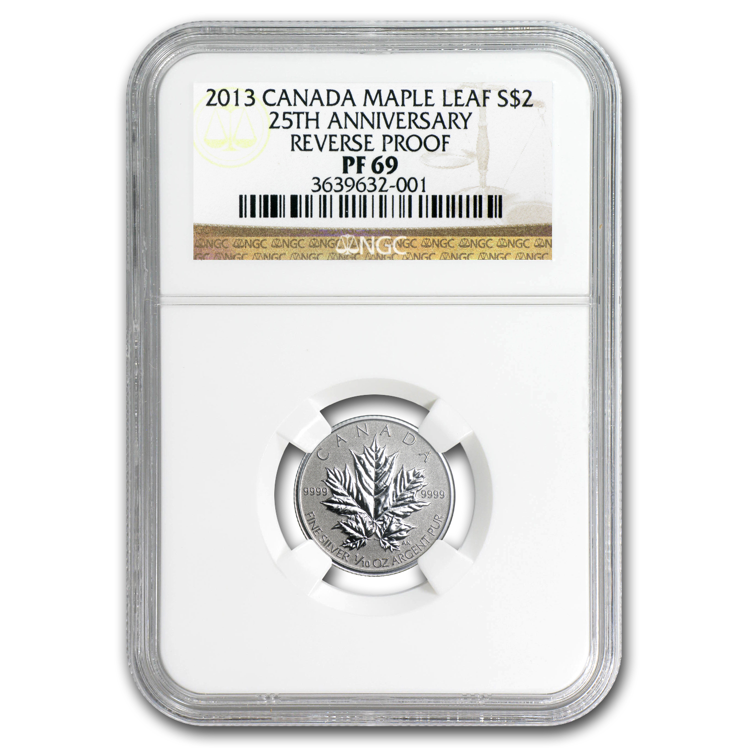 2013 1/10 oz Silver Canadian $2 Maple Leaf 25th Anniv. PF-69 NGC