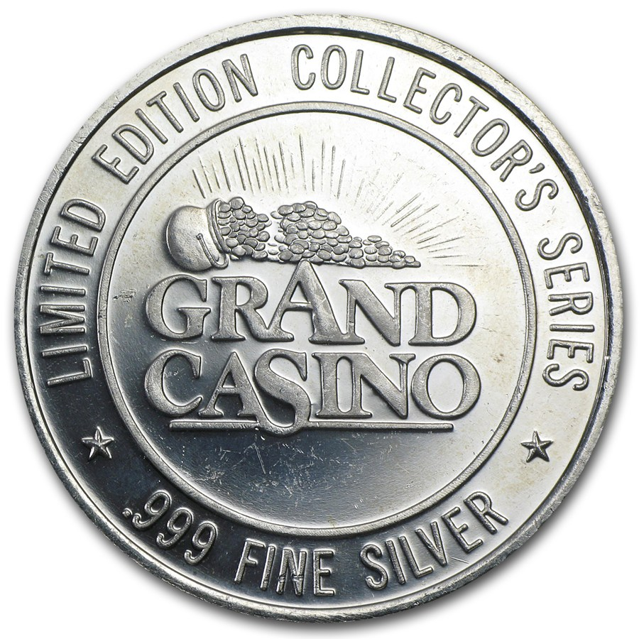 1 5 Oz Silver Round Grand Casino Gaming Token All