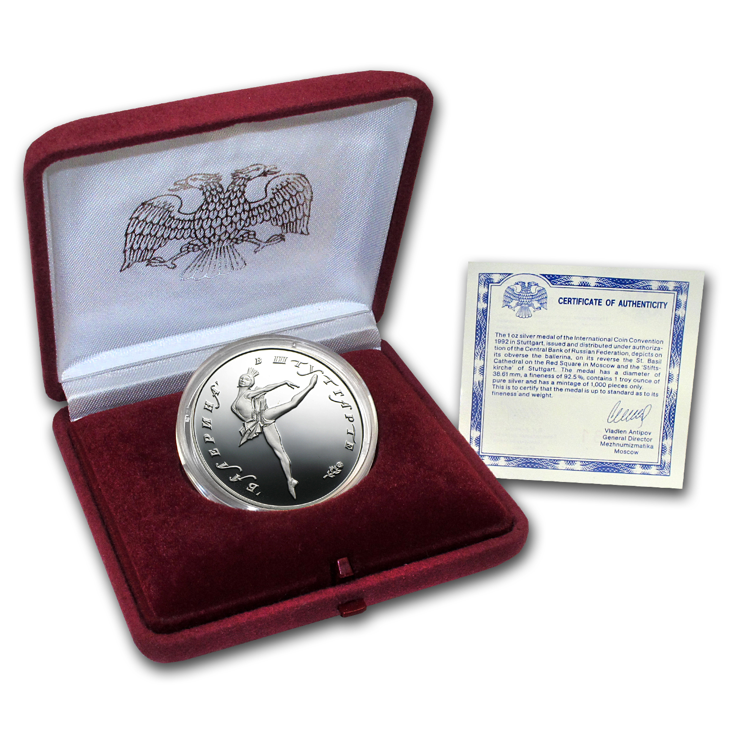 Russia 1 oz Silver Medal Stuttgart Coin Show ASW 1.0