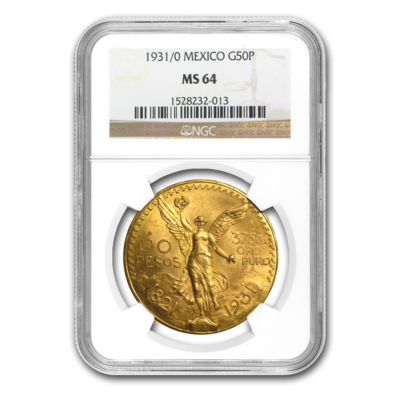 1931/0 Mexico 50 Pesos Gold MS-64 NGC