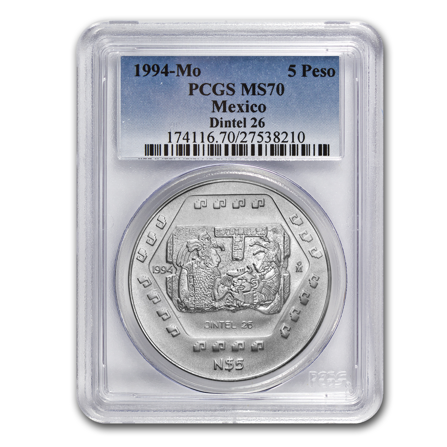 1994 1 oz Silver 5 Pesos Dintel 26 MS-70 PCGS - Registry Set