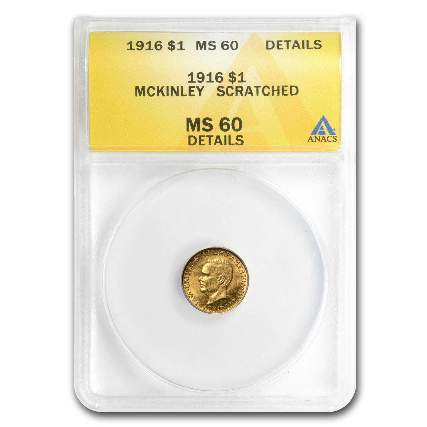 1916 $1.00 Gold McKinley - Uncirculated Details