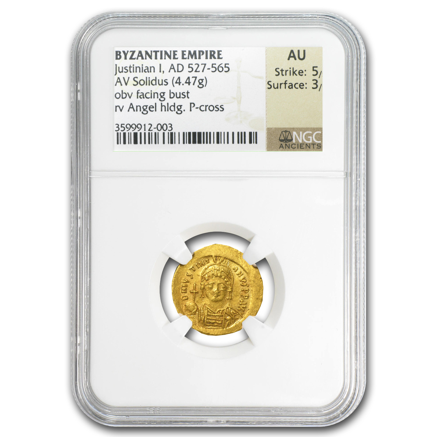 Byzantine Gold Solidus Emperor Justinian I AU NGC (527-565 AD)