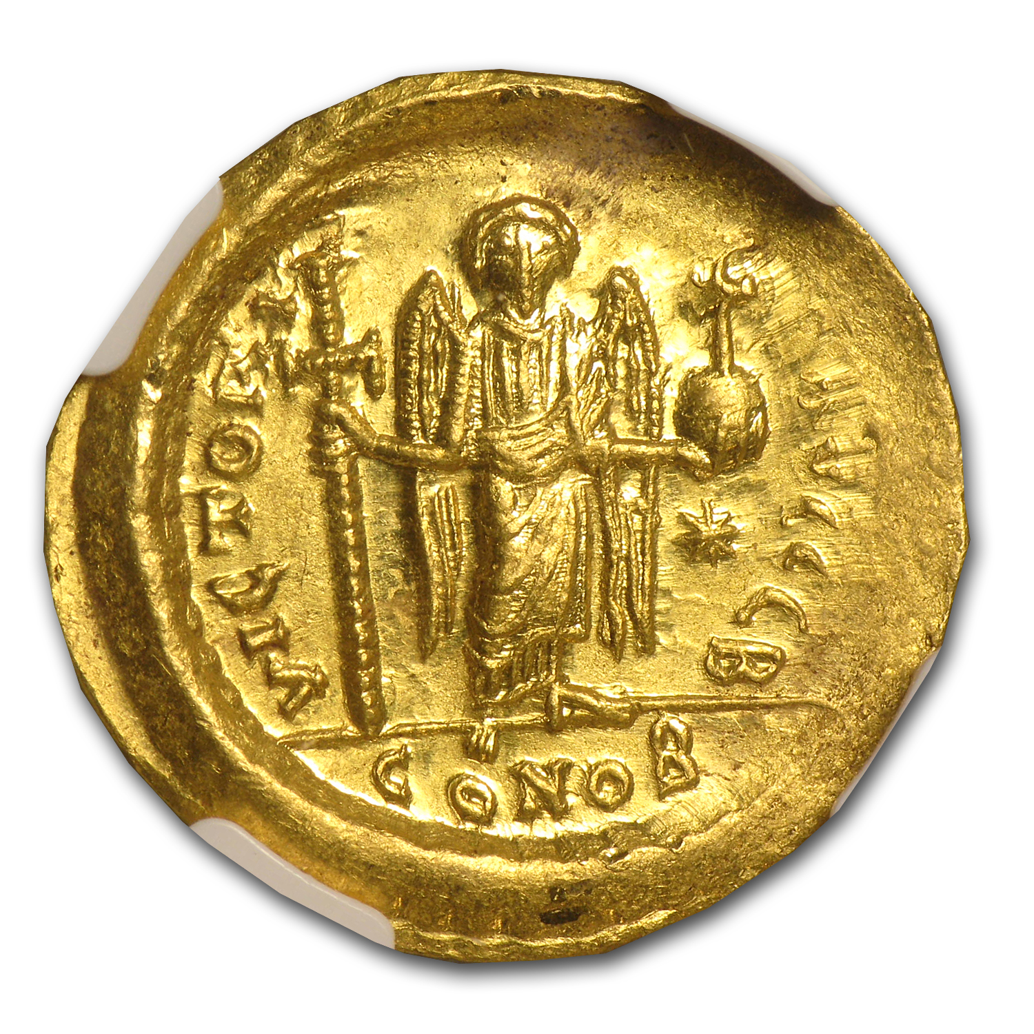 Byzantine Gold Solidus Justin I MS NGC (518-527 AD)