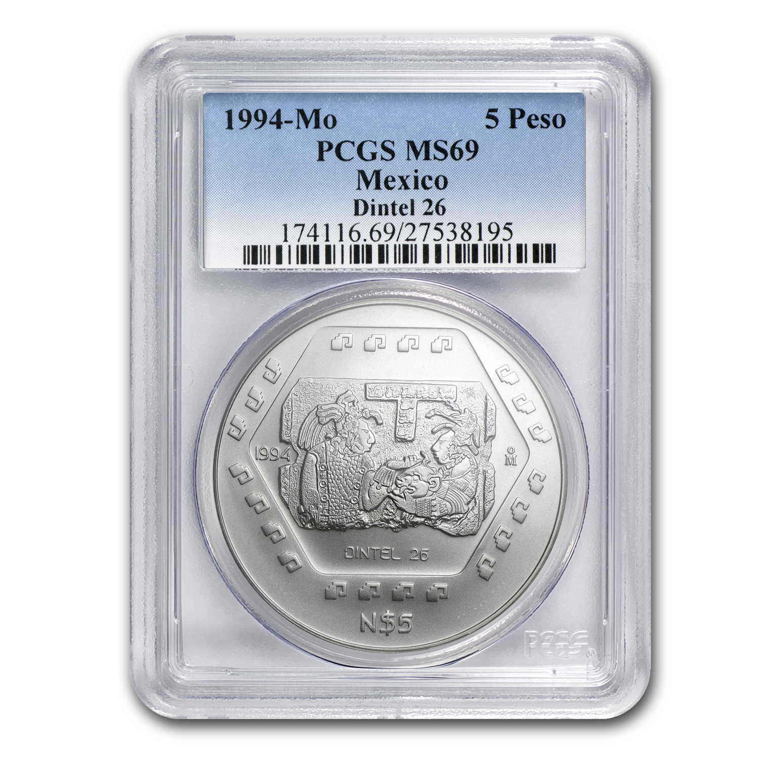 1994 1 oz Silver Mexican 5 Pesos MS-69 PCGS (26 Dintels)
