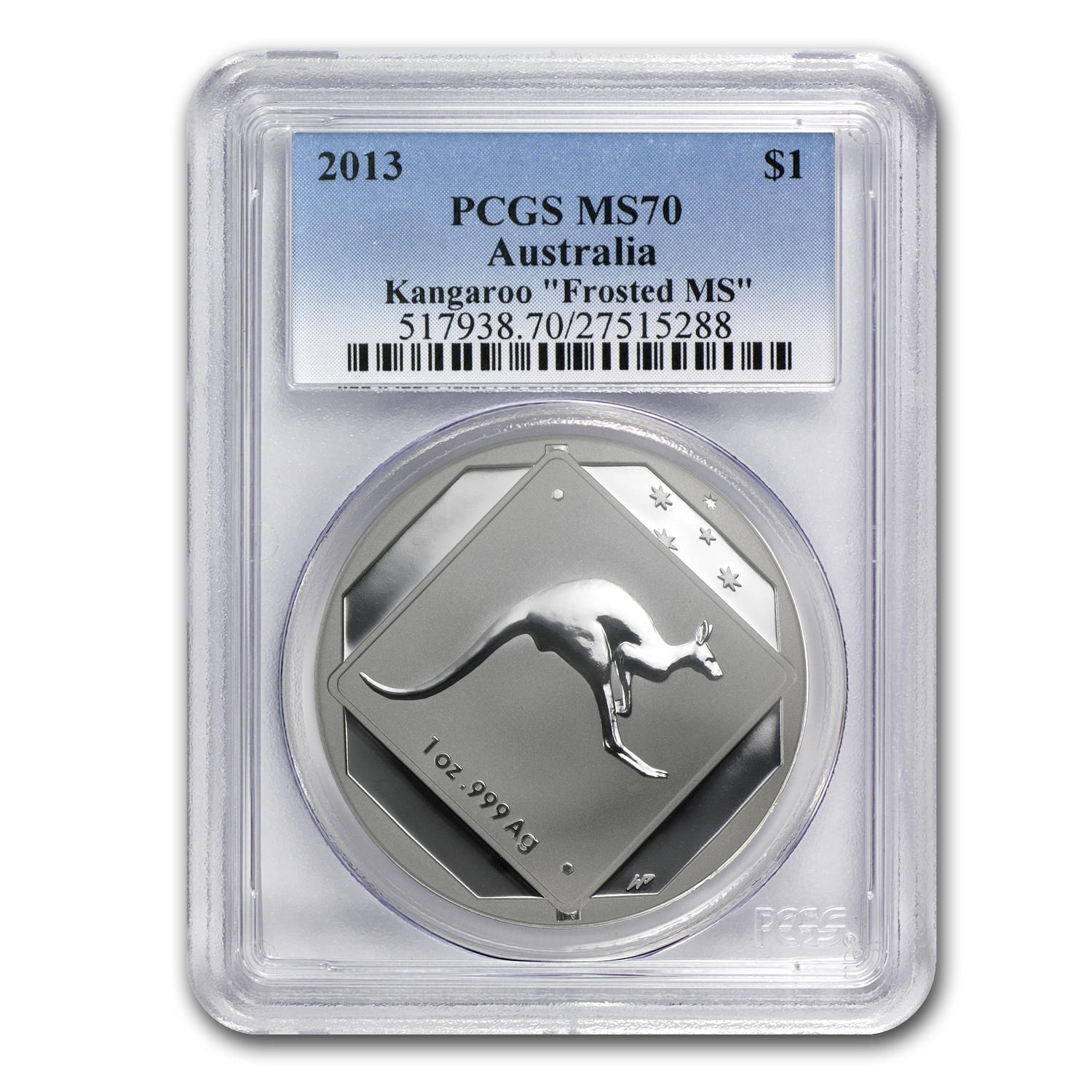2013 Australia 1 oz Silver Kangaroo Road Sign MS-70 PCGS