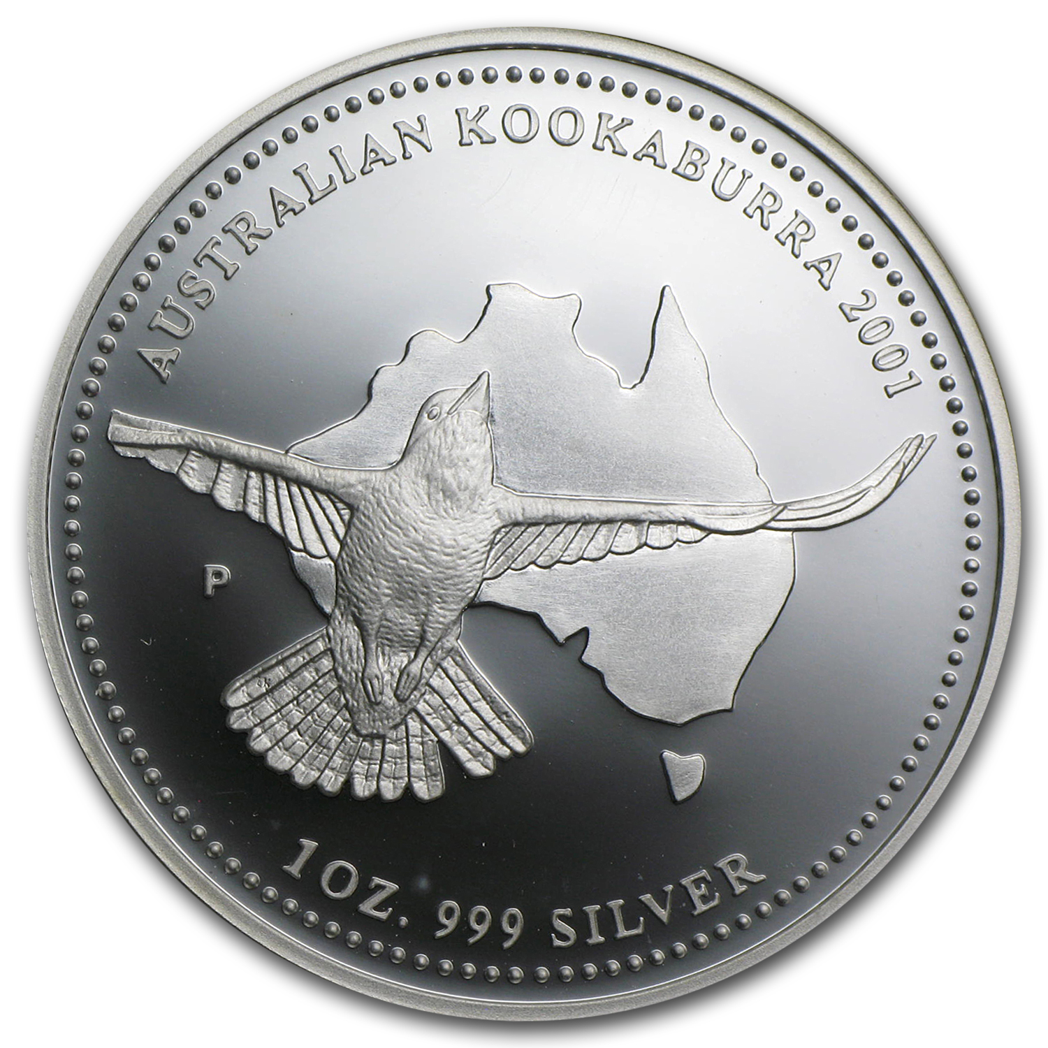 2001 1 oz Silver Australian Kookaburra Proof (Spotty)