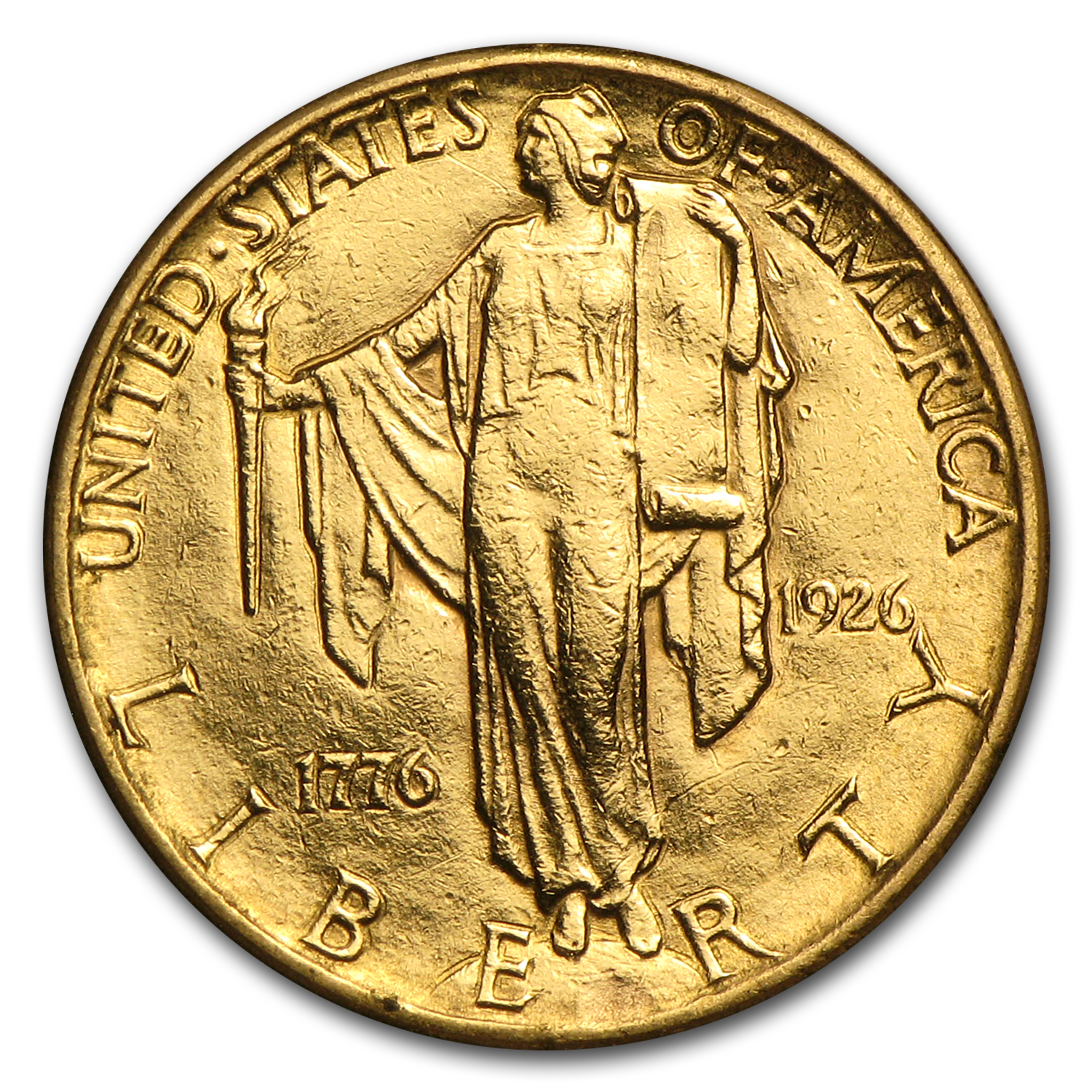1926 Gold $2.50 America Sesquicentennial AU Details (Cleaned)