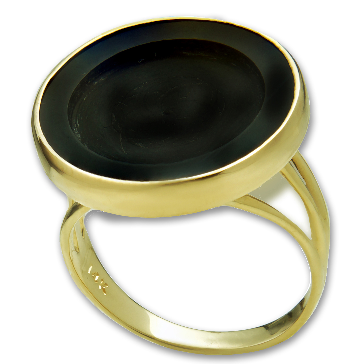 14k Gold Panda Ring (Polished Onyx)