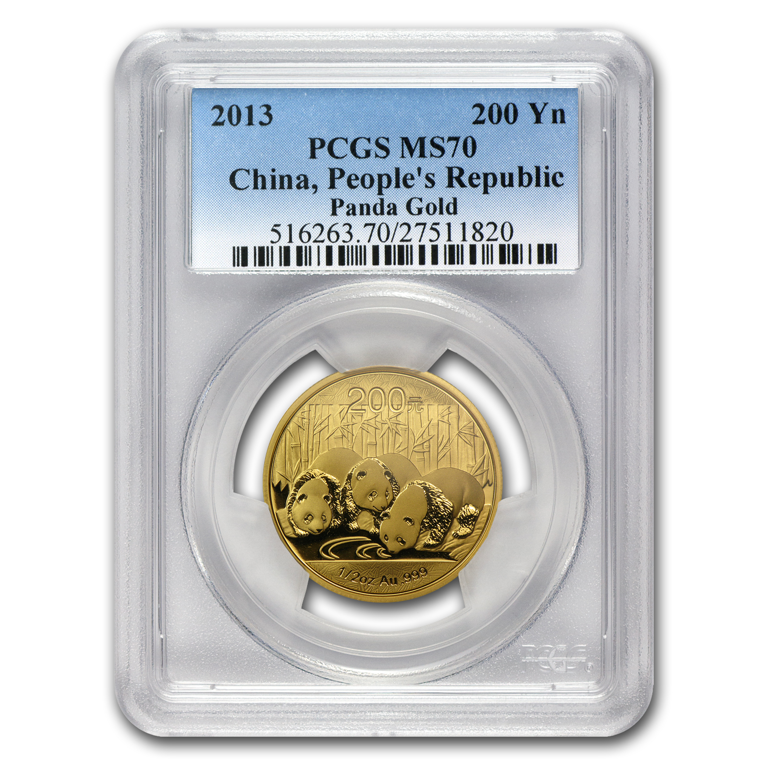2013 China 1/2 oz Gold Panda MS-70 PCGS