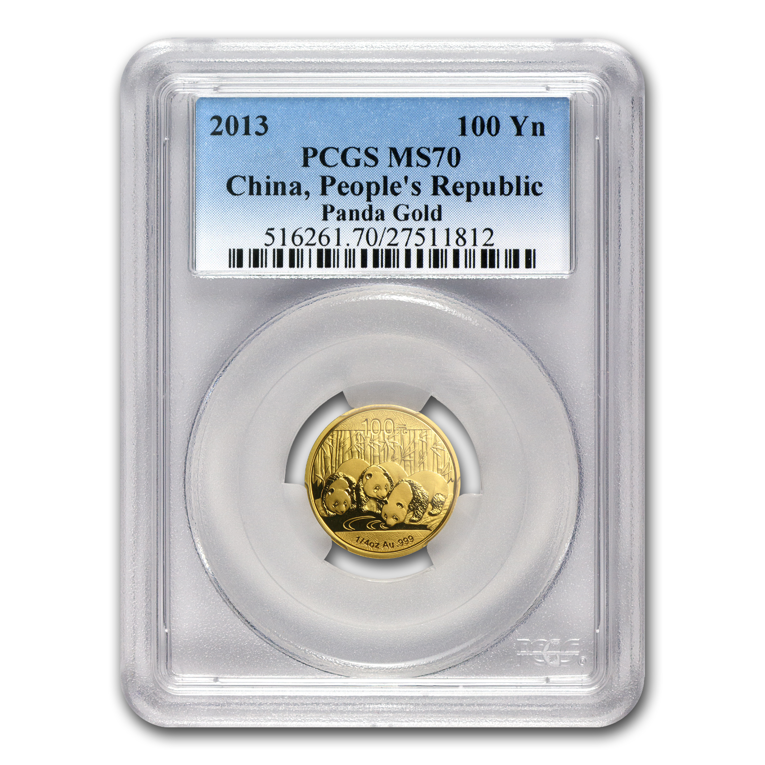 2013 China 1/4 oz Gold Panda MS-70 PCGS