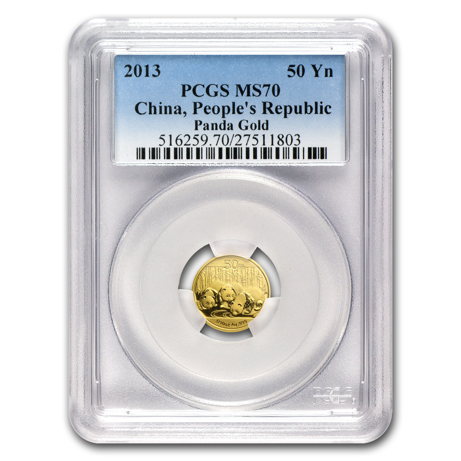 2013 China 1/10 oz Gold Panda MS-70 PCGS