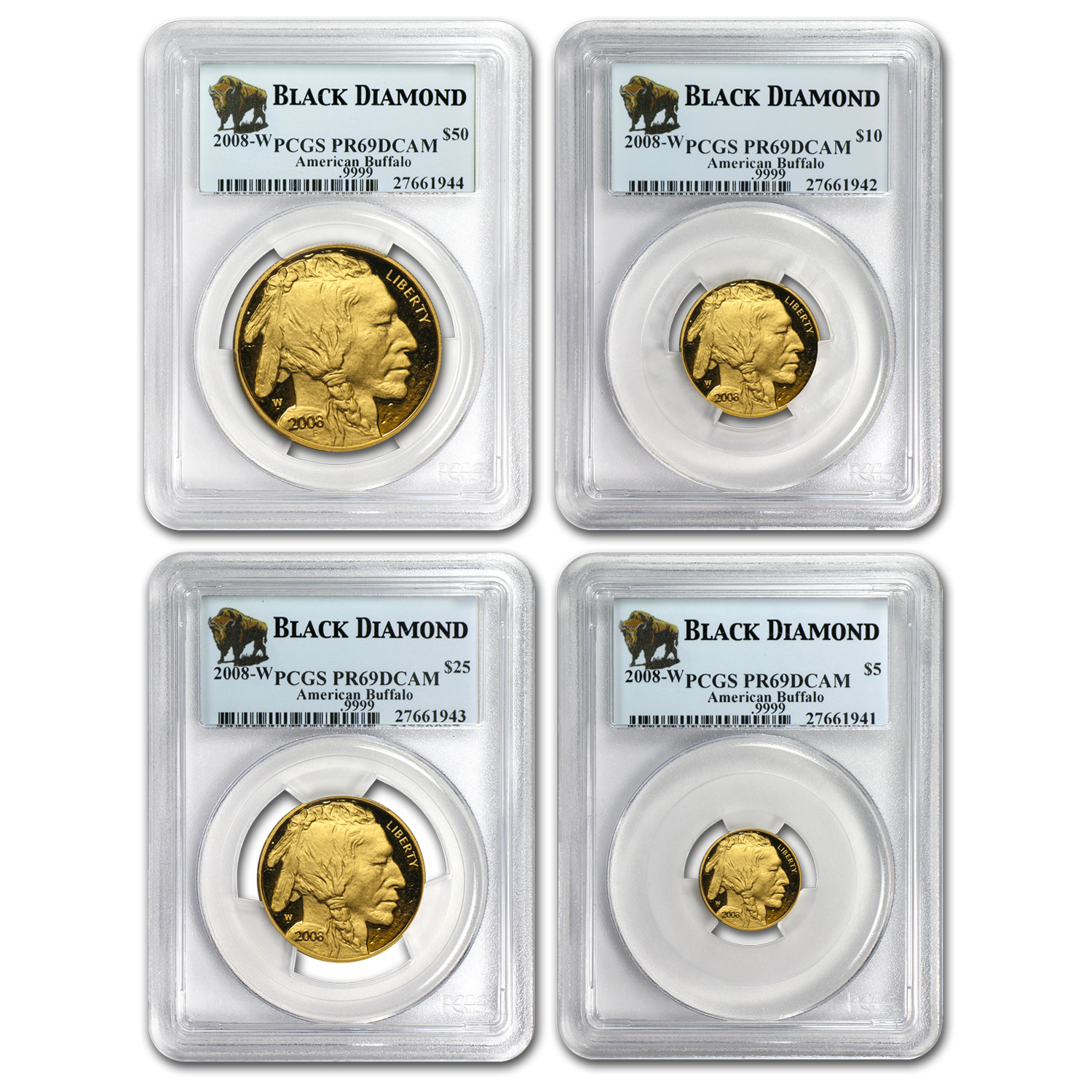 2008-W 4-Coin Proof Gold Buffalo Set PR-69 PCGS (Black Diamond)