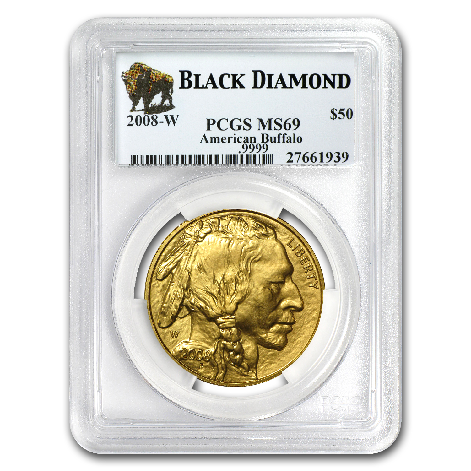 2008-W 1 oz Gold Buffalo MS-69 PCGS (Black Diamond)