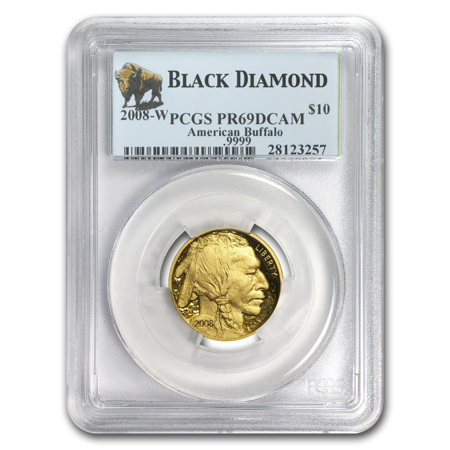 2008-W 1/4 oz Proof Gold Buffalo PR-69 PCGS (Black Diamond)