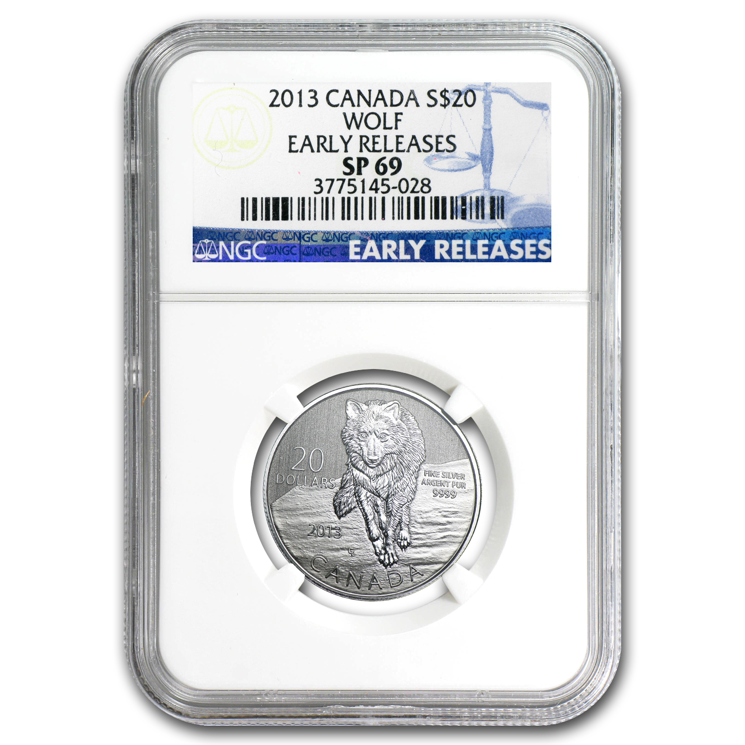 2013 Canada 1/4 oz Silver $20 Wolf SP-69 NGC (ER)