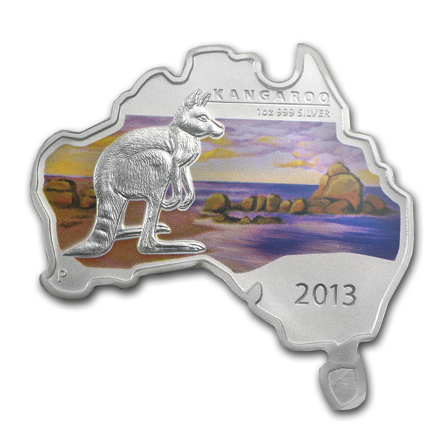 2013 1 oz Silver Australian Kangaroo - Map Shape ER MS-70