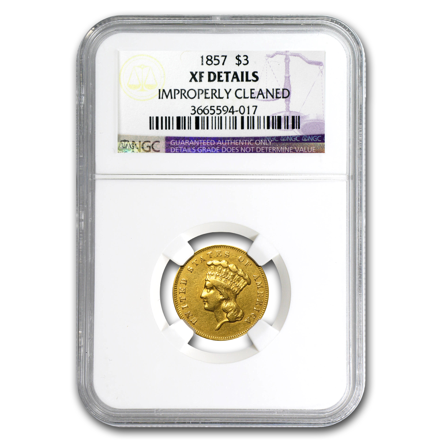 1857 $3 Gold Princess XF Details NGC (Cleaned)